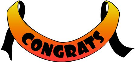 Orange ribbon withCONGRATS text. Illustration concept image