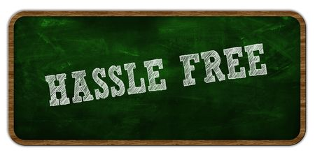 HASSLE FREE written with chalk on green chalkboard. Wooden frame. Illustration Stock Photo