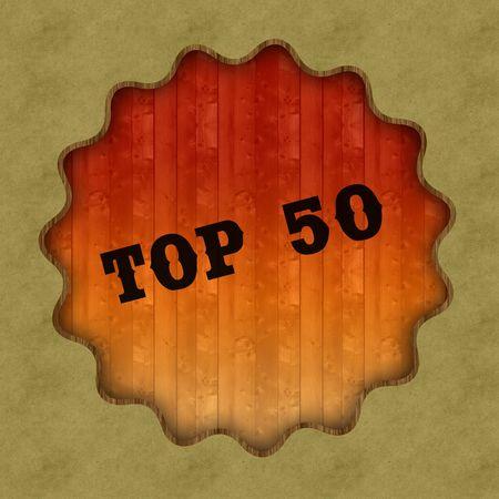 Retro TOP 50 text on wood panel background, illustration.
