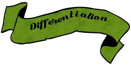 DIFFERENTIATIE groen lint. Afbeelding grafisch concept Stockfoto