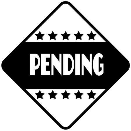PENDING on black diamond shaped sticker label. Illustration