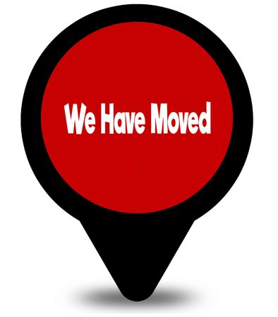 WE HAVE MOVED on red location pointer illustration graphic Stock Photo