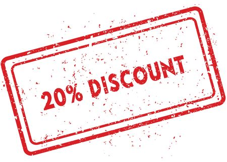 Red 20 PERCENT DISCOUNT rubber stamp. Illustration graphic image concept