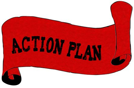 Red scroll paper with ACTION PLAN text. Illustration concept
