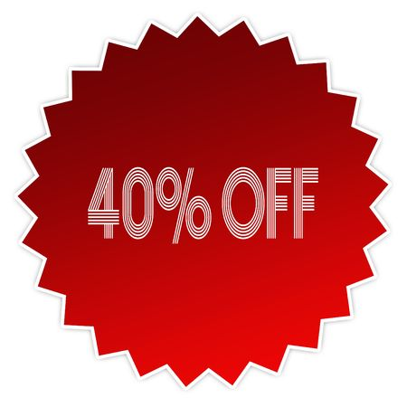 40 PERCENT OFF on red sticker label. Illustration graphic design concept image Stock Photo