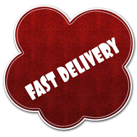 Red pattern cloud with FAST DELIVERY text written on it illustration.