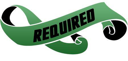 緑色のスクロールリボンと必須メッセージ。イラスト画像 写真素材