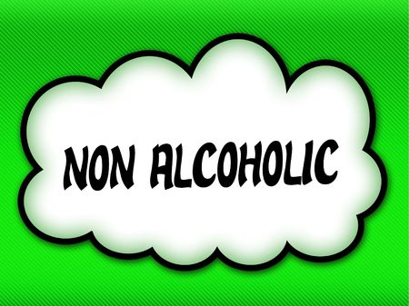 Comic style cloud with NON ALCOHOLIC writing on bright green background. Illustration Stock Photo