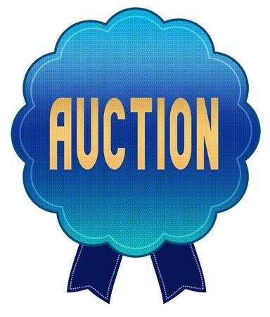 Blue AUCTION ribbon badge. Illustration graphic design concept image