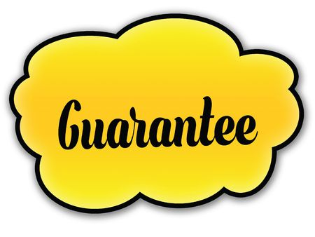 GUARANTEE handwritten on yellow cloud with white background. Illustration Stock Photo