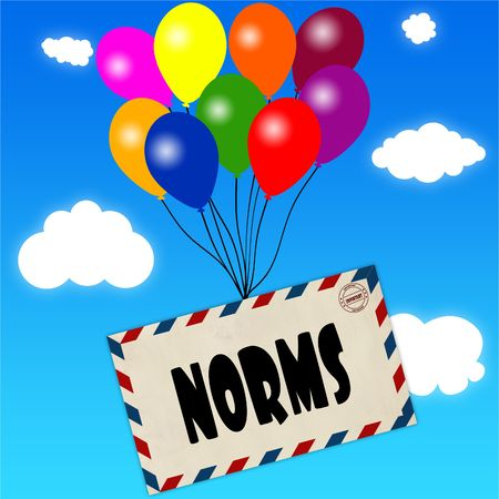 Envelope with NORMS message attached to multicoloured balloons on blue sky and clouds background. Illustration Stock Photo