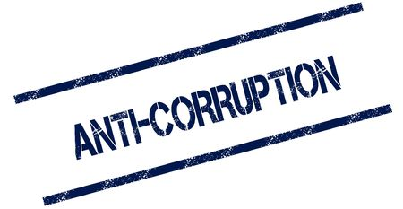 ANTI CORRUPTION blue distressed rubber stamp. Illustration concept