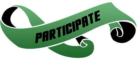 Groen gescrold lint met PARTICIPATE-bericht. Illustratie afbeelding