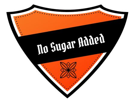 Orange and black shield with NO SUGAR ADDED text. Illustration