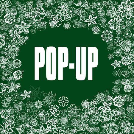 POP UP on green banner with flowers. Illustration image concept Stockfoto
