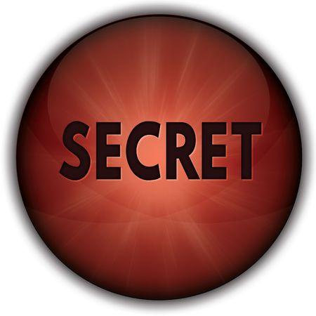 SECRET red button badge. Illustration image concept