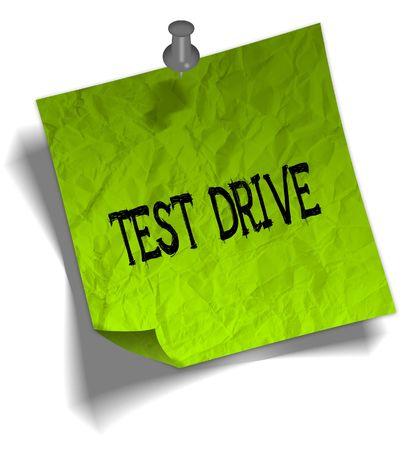 Groen notitie papier met TEST DRIVE bericht en push pins grafische afbeelding.