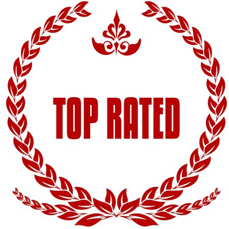TOP RATED red laurels badge. Illustration image concept