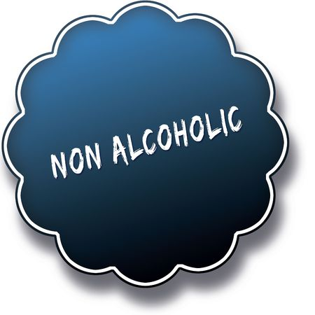 NON ALCOHOLIC text written on blue round label badge. Illustration