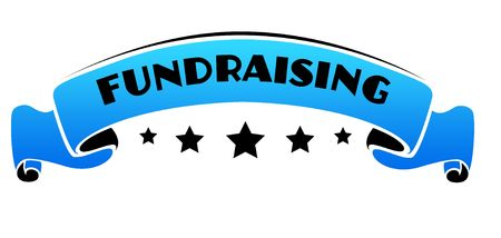 Blue band with FUNDRAISING text. Illustration graphic concept