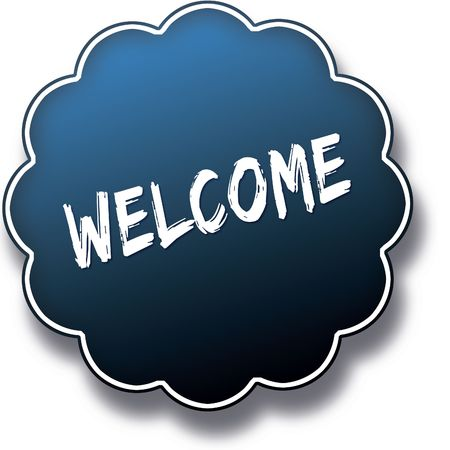 WELCOME text written on blue round label badge. Illustration