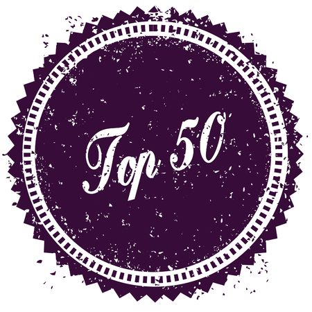 Purple TOP 50 distressed stamp. Illustration image concept Stock Photo