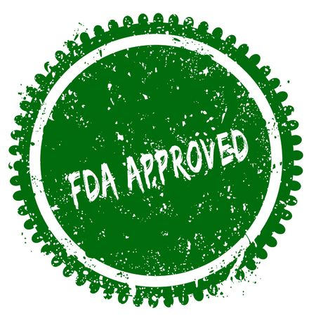 FDA APPROVED round grunge green stamp. Illustration concept Stock Photo