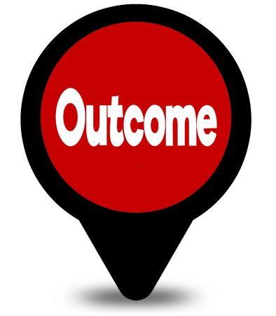 OUTCOME on red location pointer illustration graphic