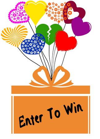 ENTER TO WIN on gift box with multicoloured hearts. Illustration concept