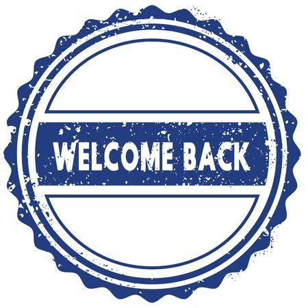 WELCOME BACK stamp. sticker. seal. blue round grunge vintage ribbon sign. illustration Stock Photo