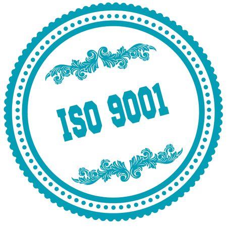 ISO 9001 blue round stamp. Illustration image concept