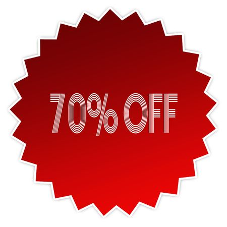 70 PERCENT OFF on red sticker label. Illustration graphic design concept image Stock Photo