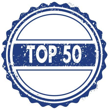 TOP 50 stamp. sticker. seal. blue round grunge vintage ribbon sign. illustration