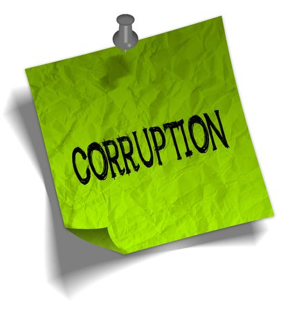 Green note paper with CORRUPTION message and push pin graphic illustration.