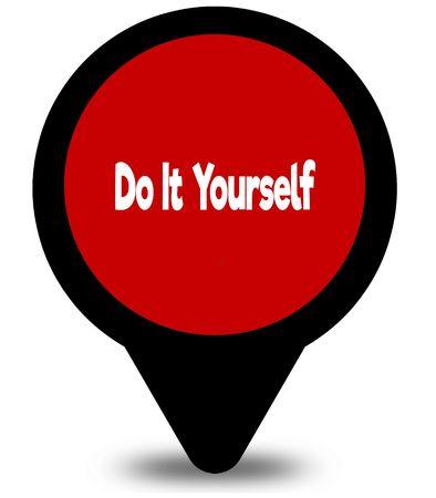 DOE HET ZELF op de grafische afbeelding van de rode locatie-aanwijzer Stockfoto - 93302910