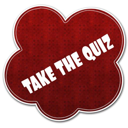 Red pattern cloud with TAKE THE QUIZ text written on it illustration. Stock Photo