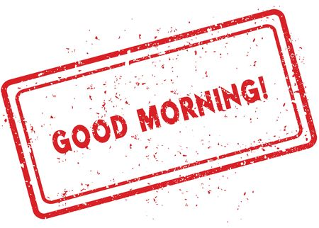 Red GOOD MORNING   rubber stamp. Illustration graphic image concept Stock Photo