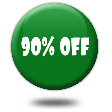 90 PERCENT OFF on green 3d button. Illustration graphic design concept image Stock Photo
