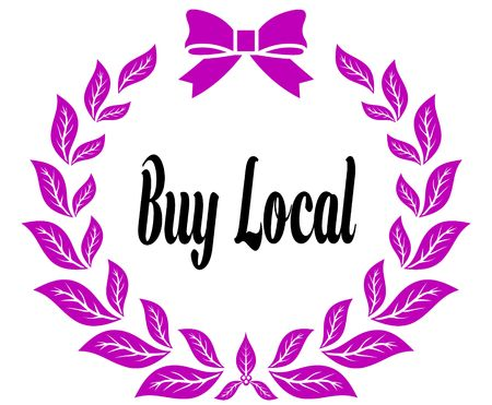 BUY LOCAL with pink laurels ribbon and bow. Illustration concept Stock Photo