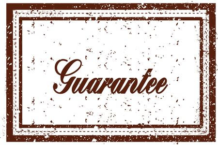 GUARANTEE brown square distressed stamp. Illustration image