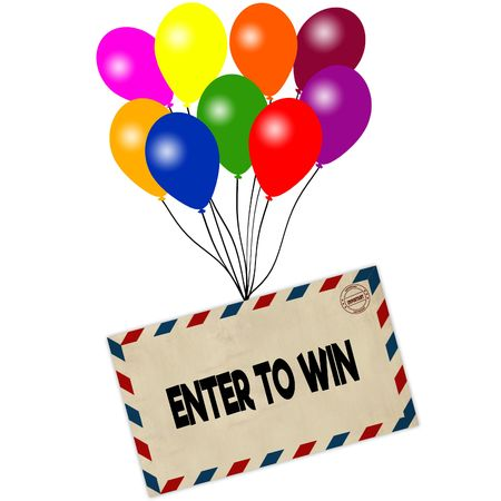 ENTER TO WIN on envelope pulled by coloured balloons isolated on white background. Illustration