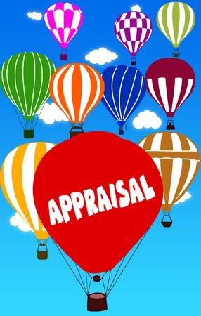 APPRAISAL written on hot air balloon with a blue sky background. Illustration Stock Photo
