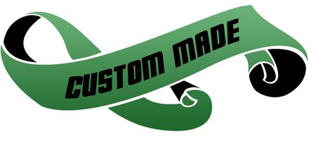 Green scrolled ribbon with CUSTOM MADE message. Illustration image