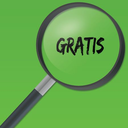 GRATIS text under a magnifying glass on green background. Illustration