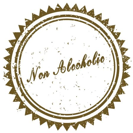 Brown NON ALCOHOLIC grunge stamp. Illustration image concept
