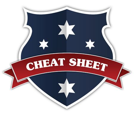Blue shield and red ribbon with CHEAT SHEET text. Illustration
