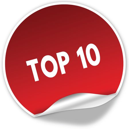 TOP 10 text on realistic red sticker on white background. Illustration