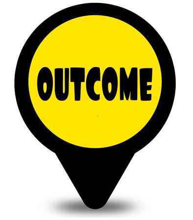 Yellow location pointer design with OUTCOME text message. Illustration Stock Photo