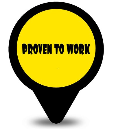 Yellow location pointer design with PROVEN TO WORK text message. Illustration Stock Photo