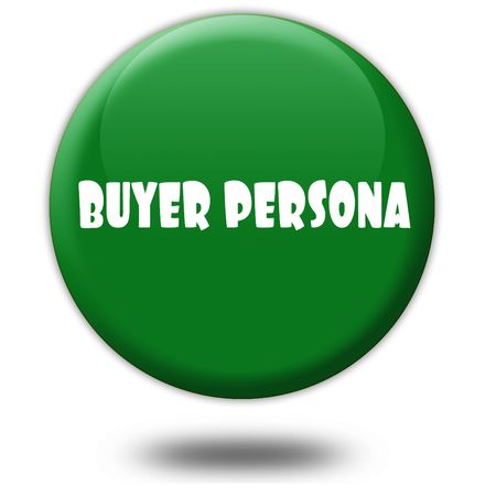 BUYER PERSONA on green 3d button. Illustration graphic design concept image